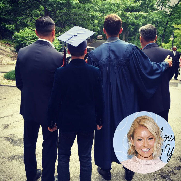 "Kelly Ripa commemorated her oldest son, Michael Consuelos' graduation from high school with a generational family photo featuring her husband Mark and young son Joaquin Consuelos. Attached to the picture, the TV personality wrote, ""The Graduate, his father, his brother, his grandfather. Congratulations HE! We are so proud.""