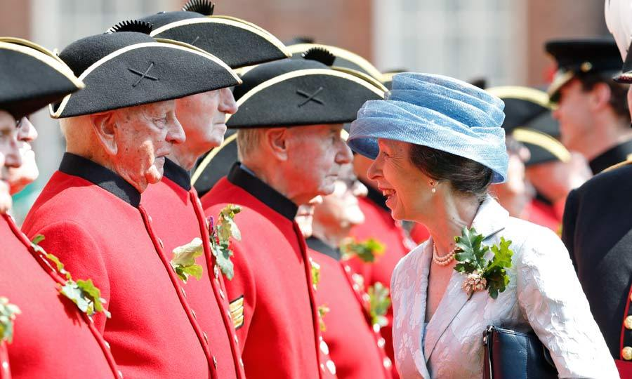 Sporting a floral print suit, Princess Anne inspected the Chelsea Pensioners during the annual Founder's Day Parade at The Royal Hospital Chelsea.