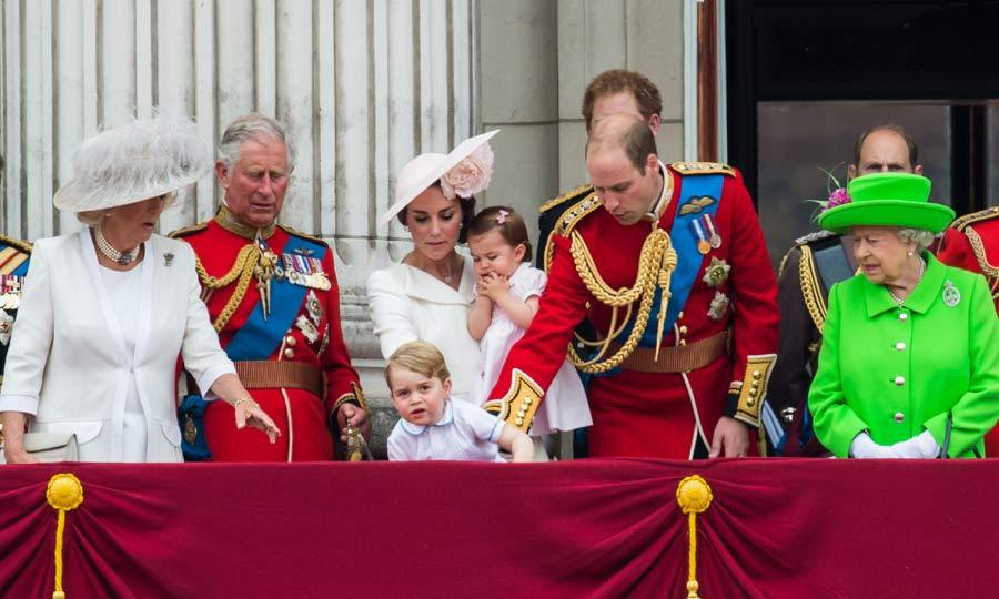 Overexcited by the planes flying overhead, Prince George attempted to climb up onto the balcony edge at Buckingham Palace, causing panic to ensue from the older royals who rushed to pull him down.
