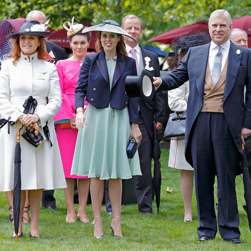 One big, happy family! Exes Sarah Ferguson, Duchess of York, and Prince Andrew reunited at the Ascot Racecourse with their daughter Princess Beatrice.