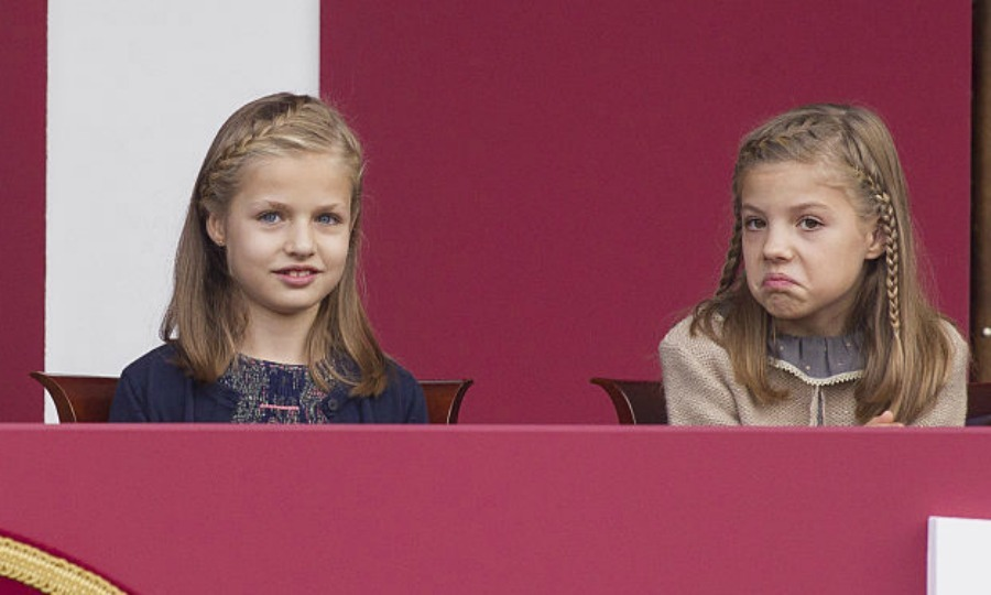 October 2015: Princess Sofia gave a shrug alongside her sister Princess Leonor at the National Day Military Parade in Madrid, Spain. 
