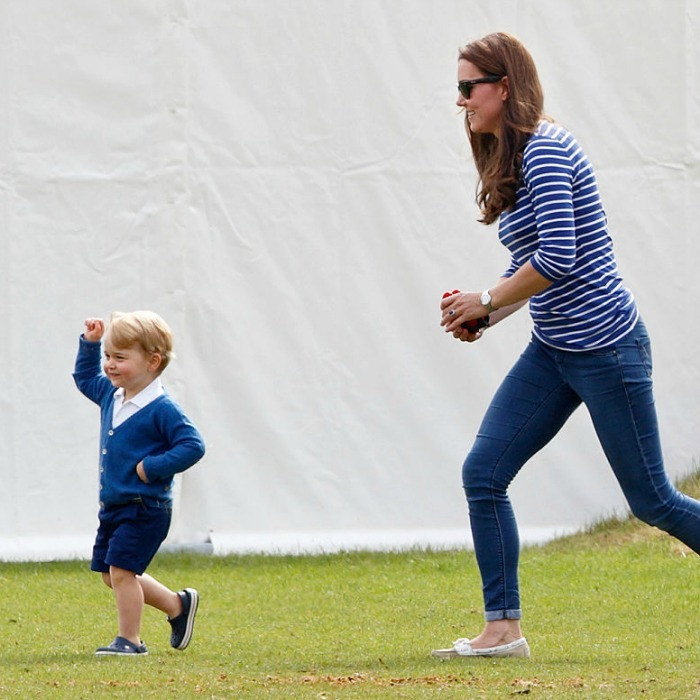 June 2015: The dancing prince! George showed off his moves at the Gigaset Charity Polo Match as his mom Kate Middleton followed him along. 