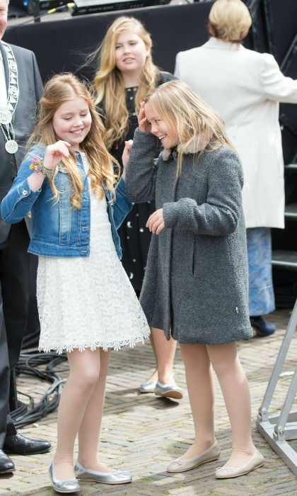 April 2016: Princesses Alexia (left) and Ariane (right) of the Netherlands danced around on King's Day for their father King Willem-Alexander's 49th birthday.