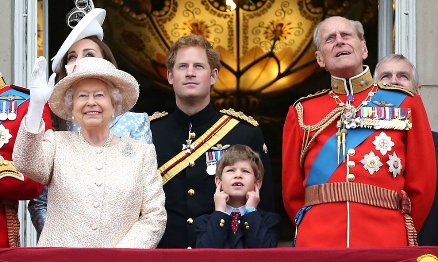 June 2015: The Trooping the Colour festivities were a bit too loud for James, Viscount Severn as he covered his ears between his grandmother, the Queen, and grandfather Prince Philip.