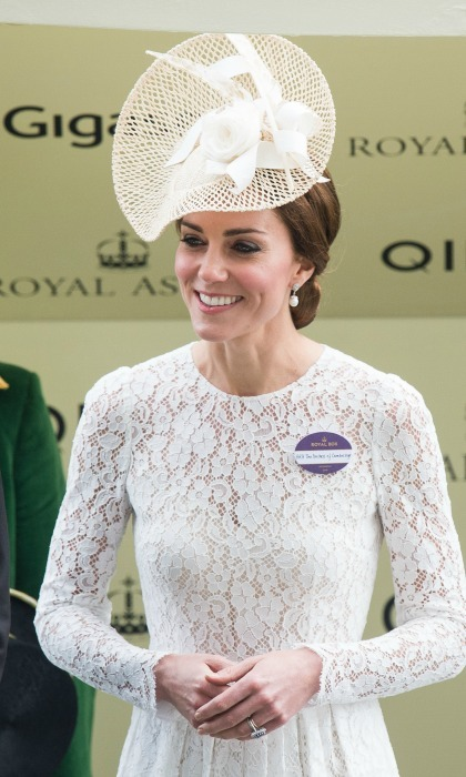 The Duchess of Cambridge's cream hat with lace detail was the perfect addition to her ensemble for day two of the Royal Ascot in 2016.