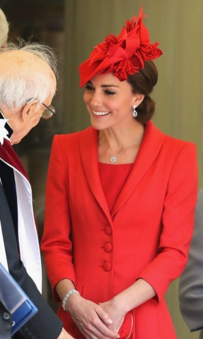 Kate wore a red hat with ruffled detail during the Order of the Garter service. 