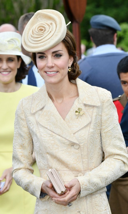 Kate made a statement with the cream fascinator worn during the Secretary of State's annual Garden party at Hillsborough Castle in Belfast.