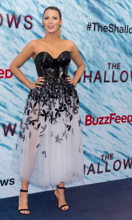 Blake wore a black and white Carolina Herrera midi dress to <i>The Shallows</i> premiere complete with Christian Louboutin heels and jewelry by Lorraine Schwartz. 