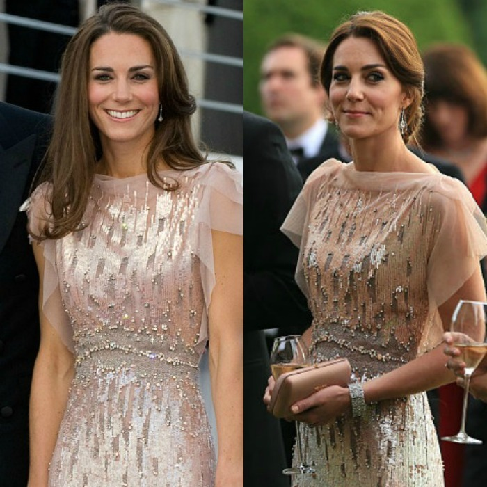 Kate stunned in a blush Jenny Packham gown at a fundraising gala for East Anglia's Children's Hospices on June 22, 2016. The brunette beauty completed her sophisticated look, sweeping her glossy locks into an elegant updo. The Duchess first wore the pearlescent rose sequin gown, which features Swarovski crystals back in 2011 for the  ARK (Absolute Return for Kids) Gala dinner (left) held at Kensington Palace. However at that time, the newly-minted royal wore her hair down.