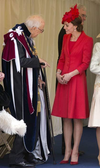 The Duchess lived up to her title as the queen of recycling when she stepped out in a one of her go-to red looks at the Order of the Garter service at Windsor Castle.