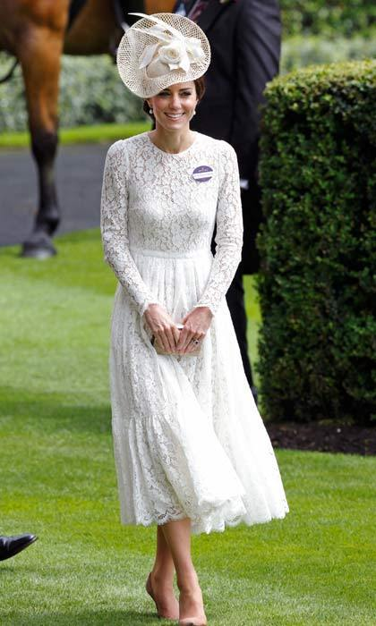 Prince George's mom wore this beautiful Dolce & Gabbana lace frock for the second day at the Royal Ascot races.