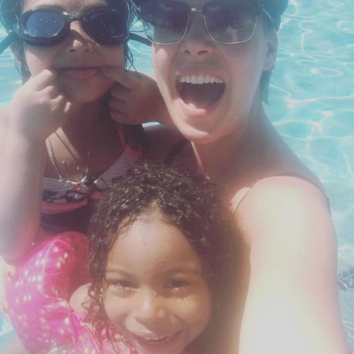 "Katherine had some fun in the sun with her ""cute kiddos"" Naleigh and Adalaide in this summer selfie. 