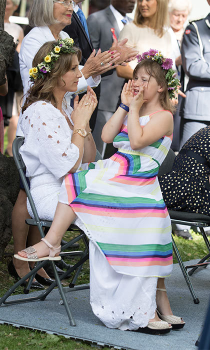 Princess Märtha Louise and her three daughters Maud, Leah and Emma (pictured) were also in attendance for the royal festivities.