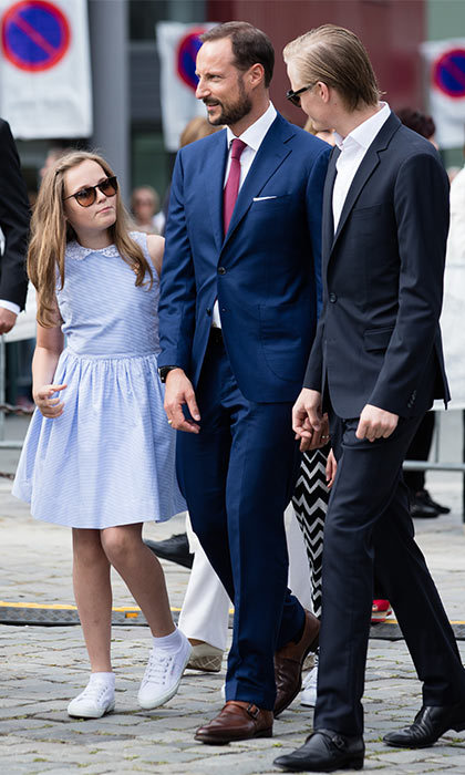 Mette-Marit's son and Haakon's stepson, Marius, joined the family for their tour of the local area.