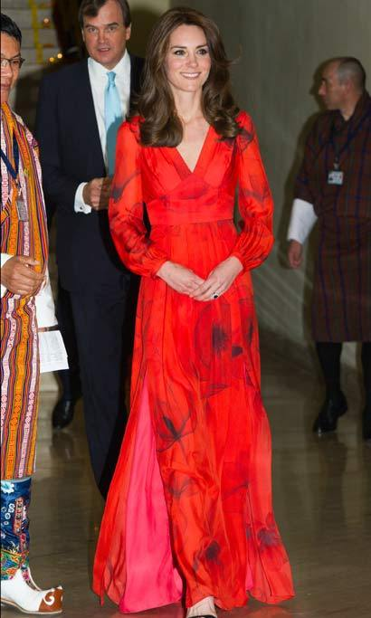 It was all eyes on the Duchess of Cambridge at the Taj Tashi Hotel, where the stylish royal stepped out for the UK Bhutan Reception. Kate paid tribute to her host country with her ensemble, an elegant, poppy-printed silk chiffon gown from Beulah. The poppy is Bhutan's national flower.