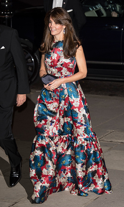For the 100 Women in Hedge Funds Gala, Kate paired her floor-length tiered-gown by Canadian-born designer Erdem with a very special accessory - the Queen Mother's diamond and sapphire fringe earrings.