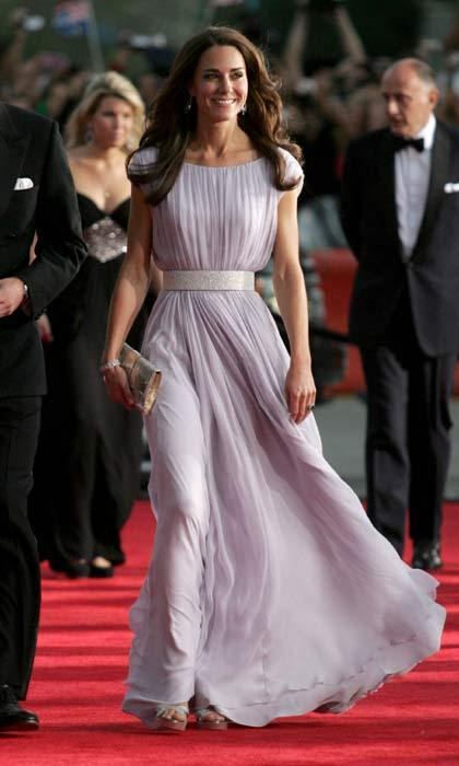 Kate called upon her favorite design house Alexander McQueen to create the stunning lilac gown she wore to the BAFTA Brits To Watch event in Los Angeles in July 2011.