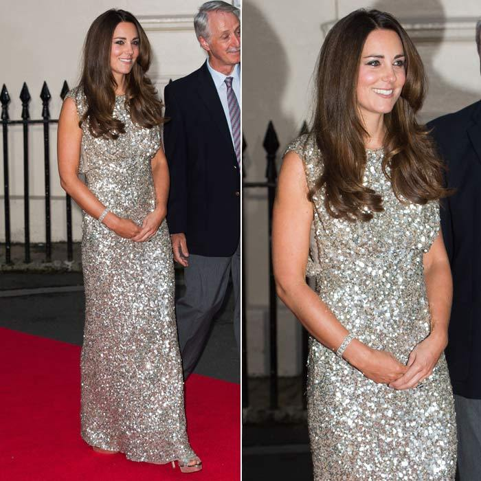Kate was the epitome of dazzling in a silver Jenny Packham gown at the Tusk Trust Conservation Awards in September 2013.