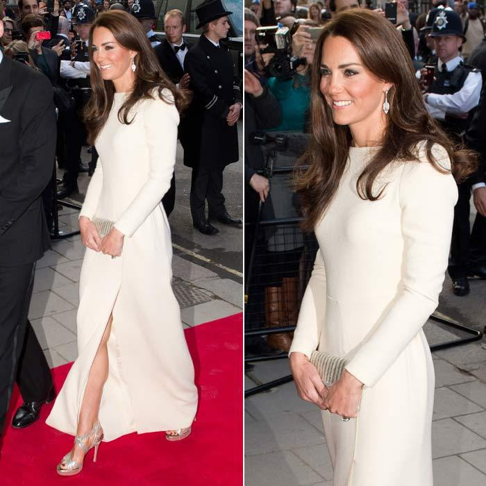 Kate mastered the art of evening dressing when she arrived in a stunning white Roland Mouret dress (that she would go on to wear again) at a dinner at Claridges in May 2012.