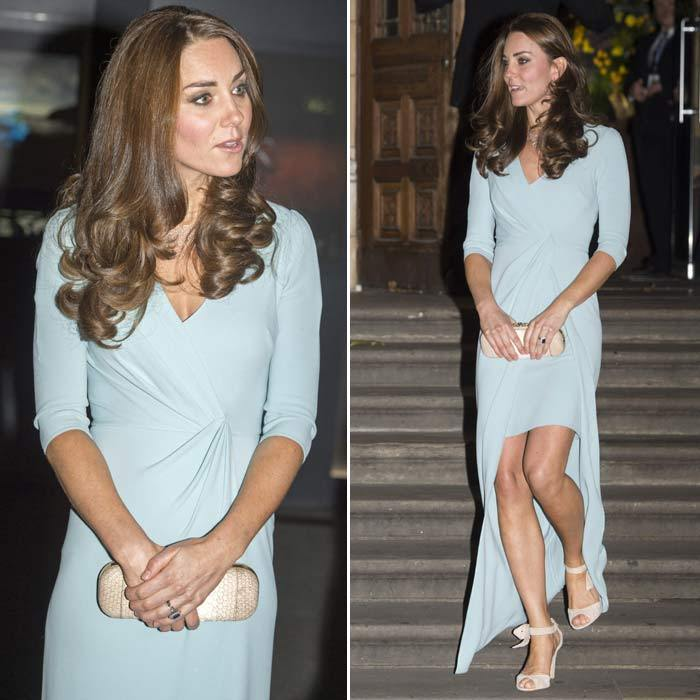 All eyes were on the Duchess of Cambridge as she stepped out in a pastel blue Jenny Packham gown to the 2014 Wildlife Photography of the Year awards.