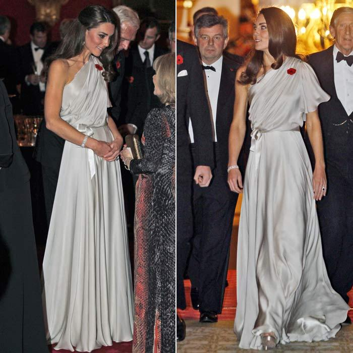 The royal went Grecian in Jenny Packham at a gala dinner in London in November 2011.
