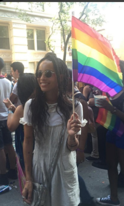 June 26: Zoe Kravitz flew her flag high during the 2016 NYC Pride parade. 