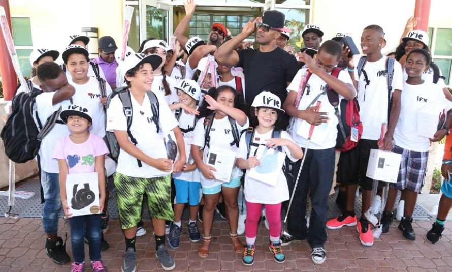 June 24: Jamie Foxx and DJ Irie had some fun with the children from the IRIE Foundation during the 12th Annual #InspIRIE Kids Golf Clinic in Miami.