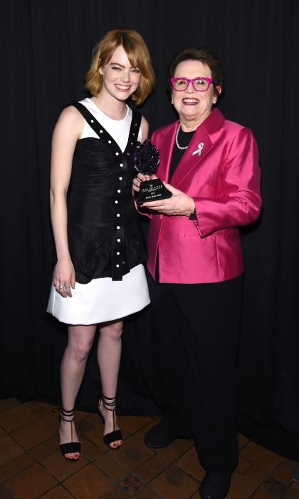 June 23: Emma Stone and Billie Jean King posed with the Trailblazer Award during the 2016 Logo's Trailblazer Honors in NYC. 