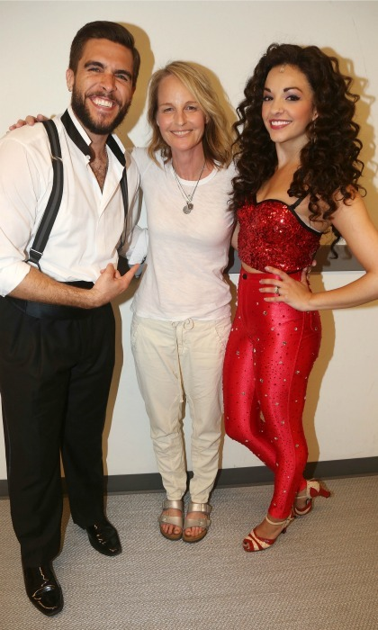 June 22: The stars of Broadway's <i>On Your Feet!</i>Josh Segarra and Ana Villafane snapped a pic backstage with  with Helen Hunt in NYC.  