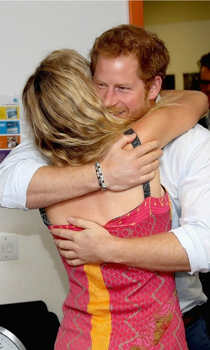 The ginger-haired royal greeted Joss Stone with a hug. The British singer will be performing with Mutsu and his friends at the Sentebale Concert on June 28.