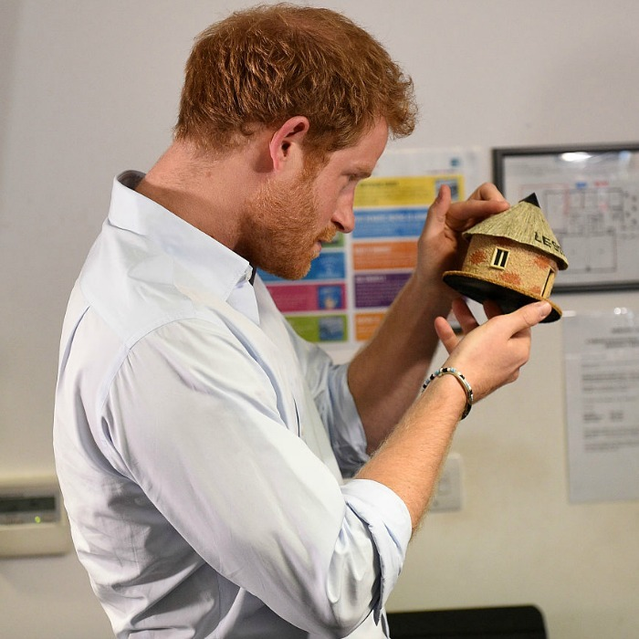 Harry took a close look at the gift from his pal.