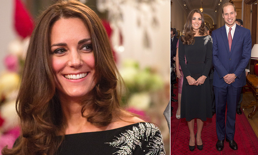 An LBD with a twist. Kate wore this black dress with embellished crystal ferns on the shoulder during their visit in New Zealand in 2014.