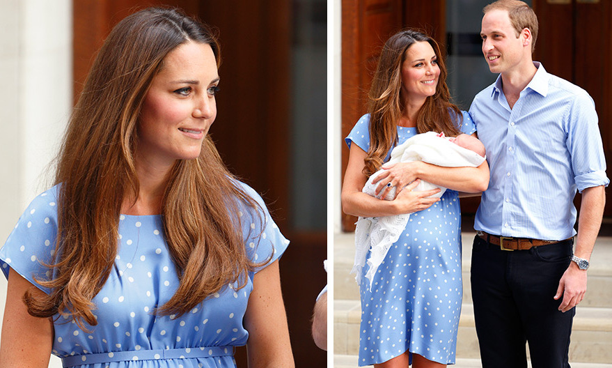Blue for her baby boy! Kate emerged from the Lindo Wing in 2013 wearing a bespoke, cornflower dress featuring white polka dots, while proudly holding her newborn son Prince George.