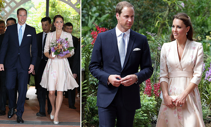 During the Jubilee tour in 2012, Kate wore this three-quarter sleeve silk Jenny Packham dress upon their arrival in Singapore. The knee-length pale pink stunner featured hand-painted orchids and a kimono inspired neckline/waist detailing.