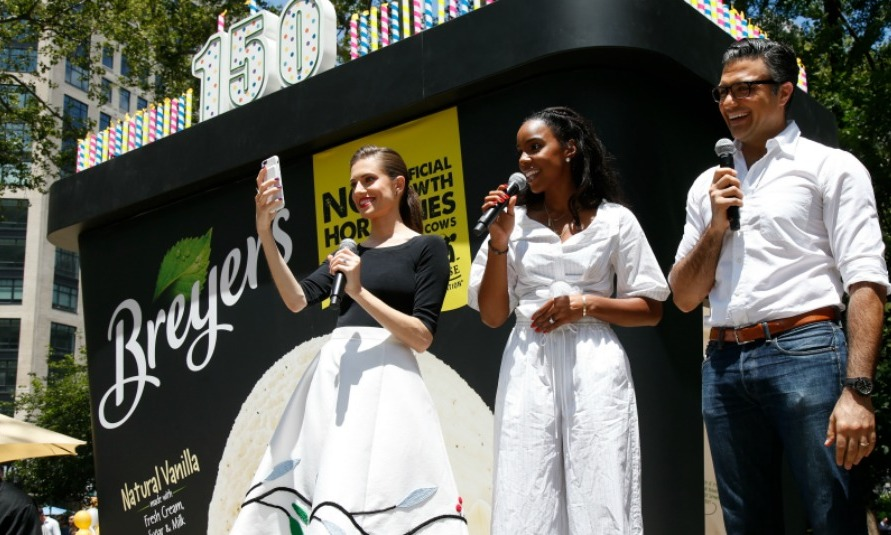 June 22: Kelly Rowland, Allison Williams and Jaime Camil celebrated Breyers' 150th birthday at Madison Square Park in NYC. 