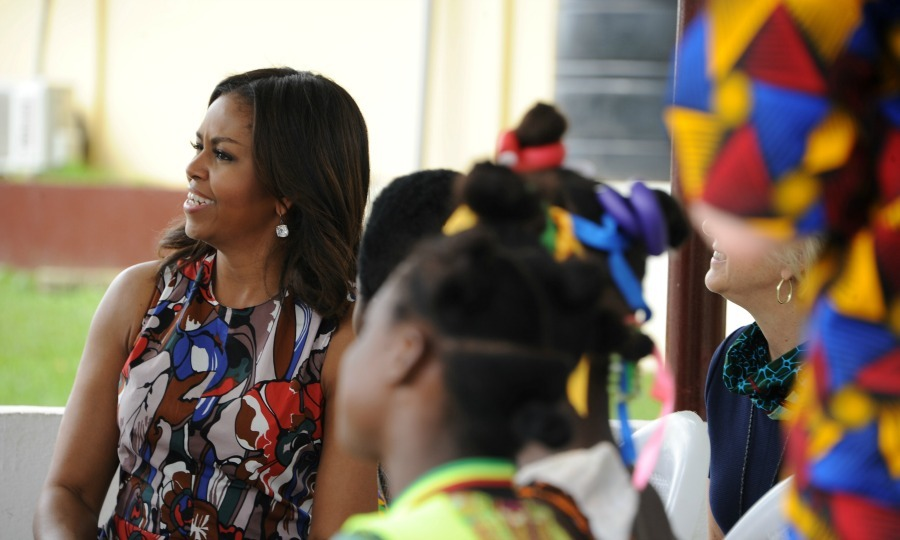 The first lady met with Liberian school girls and pushed them to continue their education. 