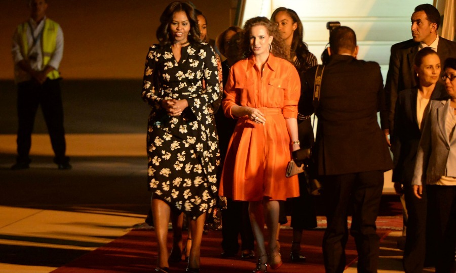 Michelle and her daughters Malia and Sasha were greeted by Moroccan Princess Lalla Salma upon their arrival to Morocco. 