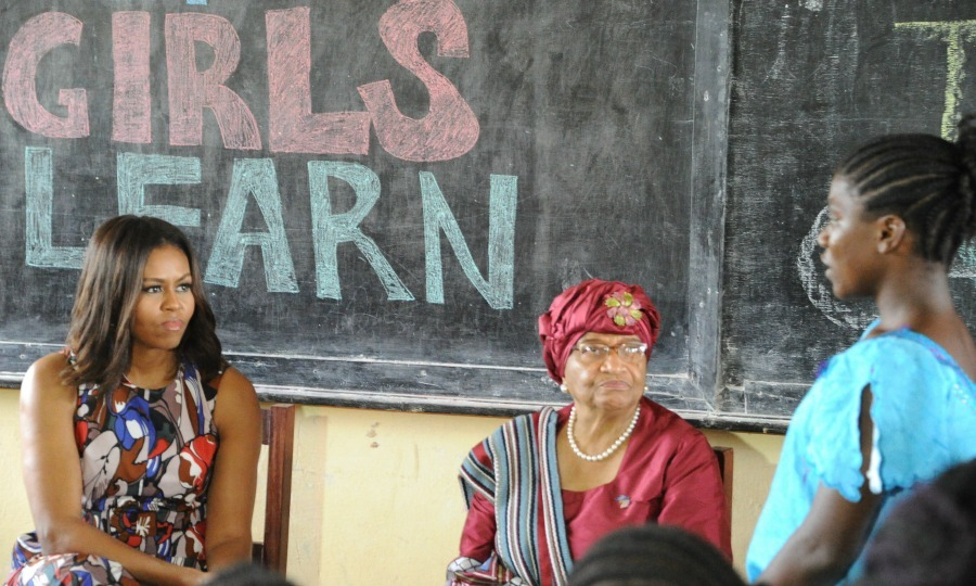 "Michelle Obama paid a visit to Monrovia for her ""Let Girls Learn"" tour in Africa with Liberian President Ellen Johnson Sirleaf. During the first stop in Liberia, she visited girls who were forced to drop out due to financial reasons. 