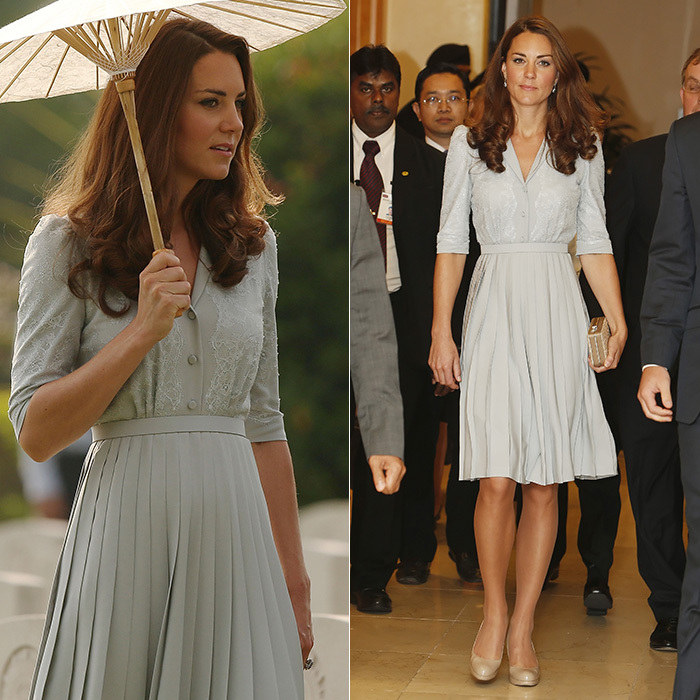 During their Singapore visit in 2012, Kate paid respects at the Kranji War Memorial in a duck egg blue colored dress with a buttoned front bodice, lace overlay on the bodice and sleeves and a full, pleated skirt.