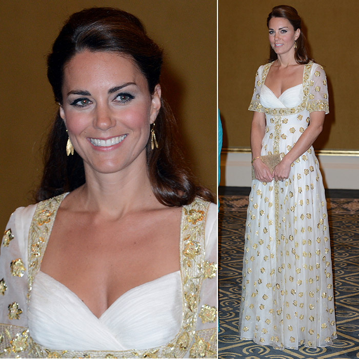 The Duchess of Cambridge wore this white and gold gown to an official dinner hosted by Malaysia's Head of State Sultan Abdul Halim Mu'adzam Shah of Kedah on day three of their Jubilee tour in 2012.