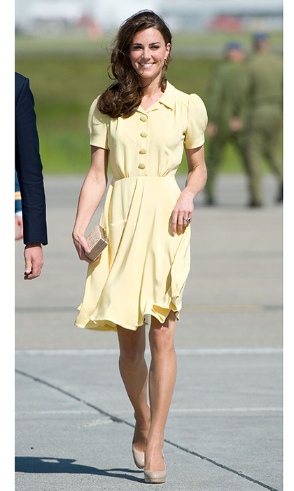The Duchess wore this knee length primrose yellow dress, made from silk crepe during the final leg of their Canadian trip in 2011. She paired the look with her favorite L.K. Bennett pumps and a straw clutch from the designer.