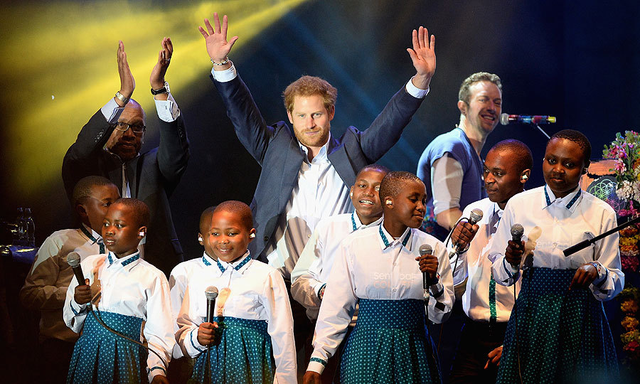Prince Harry founded Sentable in 2006 with Prince Seeiso of Lesotho, and the two friends took to the stage with a 12-strong choir for Coldplay's fitting finale performance of Up & Up.