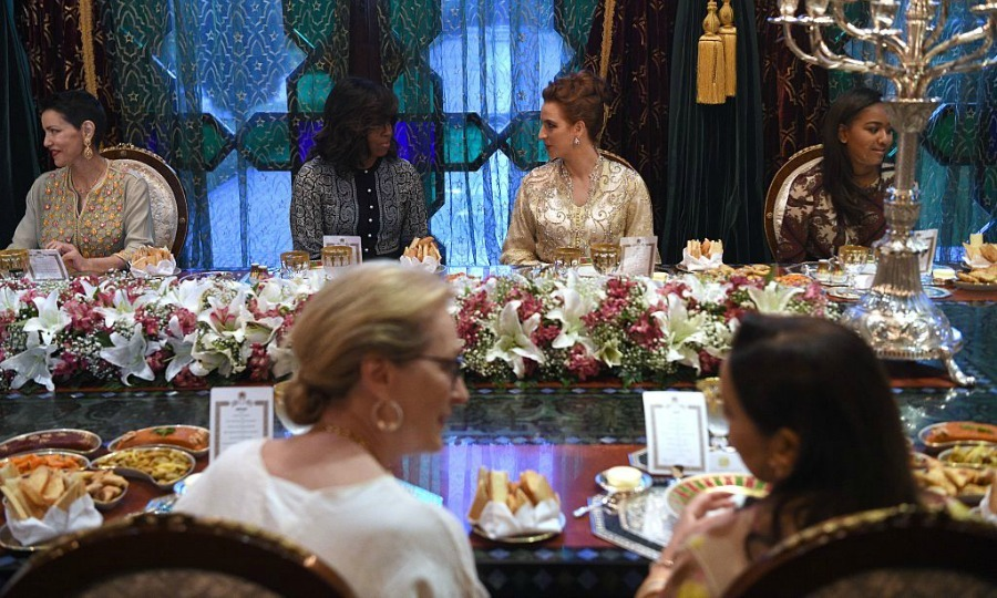 Michelle's daughter Sasha Obama sat beside the Moroccan royal during the dinner, where actress Meryl Streep was also in attendance.