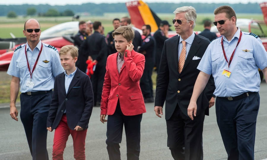 Take flight! Prince Emmanuel, Prince Gabriel and King Philippe of Belgium visited the Belgian Air Force Days at the military base in Florennes.