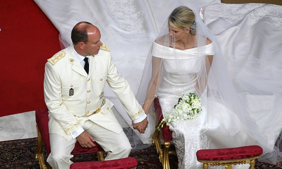The couple shared a sweet moment inside the Main Courtyard of the Prince's Palace during their religious wedding ceremony.