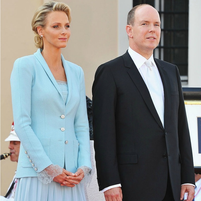 The new Princess consort of Monaco collaborated with Chanel designer Karl Lagerfeld to create her flowing chiffon aquamarine jumpsuit and matching jacket.