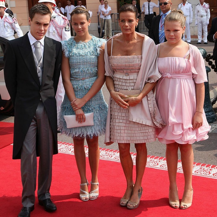 Albert's sister, Princess Stephanie, was accompanied to the royal nuptials by her children Louis Ducruet, Pauline Ducruet and Camille Gotlieb.