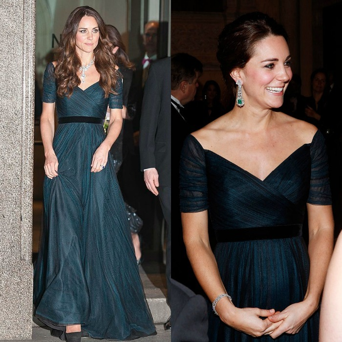 The cross-over silhouette with short sleeves is a favorite of the Duchess! For example, the royal has worn this beautiful teal version at least three times. She first wore it twice in London and then in December 2014 during her royal visit to New York City with Prince William.