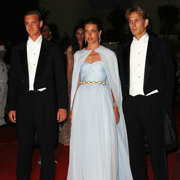 Pierre, Charlotte and Prince Andrea Casiraghi made a dashing trio at their uncle and new aunt's dinner and firework celebration at the Opera Terraces.