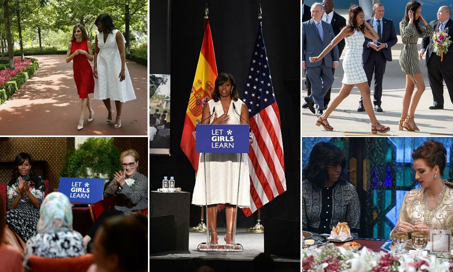 "A look at <a href=""https://us.hellomagazine.com/tags/1/michelle-obama/""><strong>Michelle Obama</strong></a>'s ""Let Girls Learn"" trip with daughters Malia and Sasha. During their travels to Liberia, Morocco and Spain, the trio will meet with government officials, royals and celebrities who are advocates of the campaign.